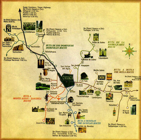 Map of Oaxaca Oaxaca Mexican Tours Dos Vagos Mexican Tours LLC